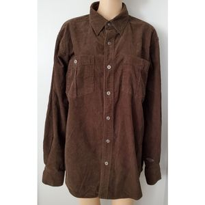 Harley Davidson XL Brown Corduroy Button down Shrt